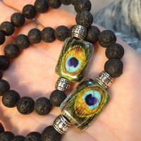 Unisex Peacock Bead and Lava Stone Aromatherapy Essential Oil Diffusing Bracelet