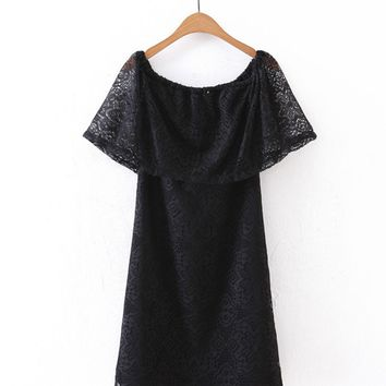 Streetstyle  Casual Off Shoulder Flounce Solid Lace Shift Dress