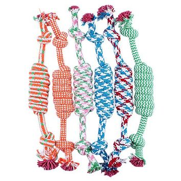 Puppy Dog Pet Toy Cotton Braided Bone Rope Chew Knotted Tied Random Color