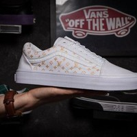 Vans X Louis Vuitton Old Skool White Low Tops Flats Shoes Sneakers Sport Shoes