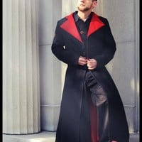 Men's Duster Gothic Coat Style Red and Black Vampire Inspired-Custom to your size