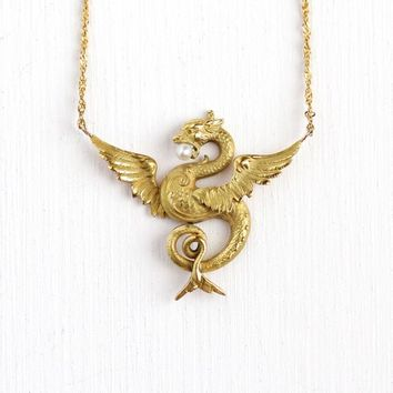 Antique Dragon Necklace - Vintage 14k Yellow Gold Seed Pearl Pendant - Edwardian Era 1900s Stick Pin Conversion Figural Mythological Jewelry