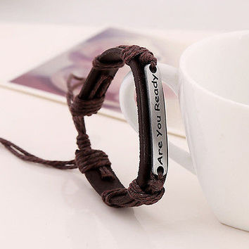 2015 Men's Tribal Hemp Braided Are U Ready Wrap Wrist PU Leather Cuff Bracelet 3