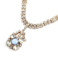 Vintage Rhinestone & Blue Glass Necklace - Gold Tone Mesh Elegant Formal Costume Jewelry / Clear Glass