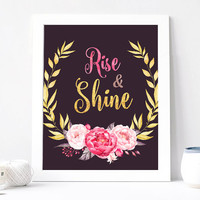Rise And Shine Print - Rise And Shine Gold Chic Quote - Inspirational Quote - Wisdom - Motivation - Pink Peony Flower Wreath