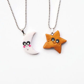 Best Friends Necklace, Star Moon Necklace, BFF keychain, BFF necklace, Best friends Keychain, Friendsip gift, Kawaii necklace, Under 20