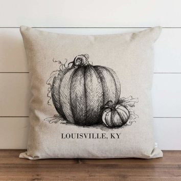 Black Pumpkin Sketch Custom City and State Pillow Cover