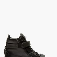 Giuseppe Zanotti Black Matte Leather Birel London Sneakers
