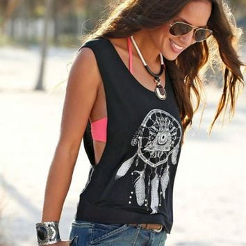 2017 Women's Tanks Sexy Tops Black Round Neck Sleeveless Loose Vintage Tribal Print Fitness Casual Tank Tops For Women De232