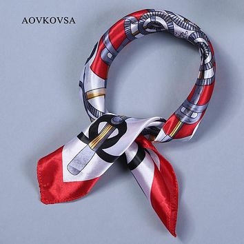 AOVKOVSA 2017 new Satin women silk scarf small squares printing bandana collar little cravat scarves 50*50cm