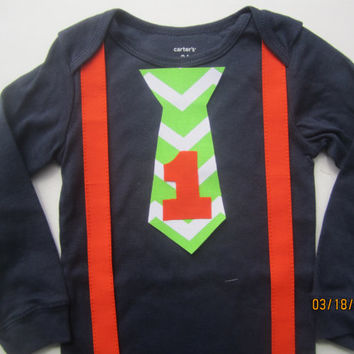 Boy's first birthday outfit, Boy orange suspender outfit, Boy navy blue birthday shirt, green chevron tie outfit, boy orange suspender shirt