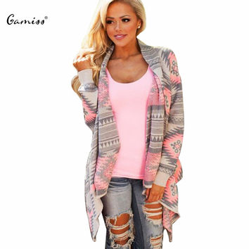 2016 Women Cardigan Pink Long Cardigans Sweaters Collarless Long Sleeve Asymmetrical Printed Casual Knitted Cardigans Coat
