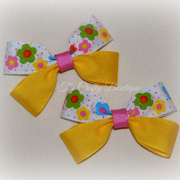Yellow Flower Bow ~ Yellow Flower Clippies ~ Small Flower Bow ~ Small Yellow Bow ~ Pink & Yellow Bow ~ Yellow Pigtails ~ Baby Toddler Bow