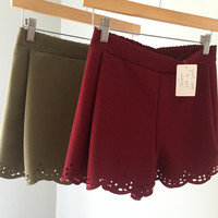 Laser Cut Shorts in Olive