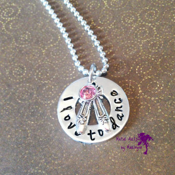 Dance Necklace, Ballet Dancer Gift, Ballet Necklace, Personalized Necklace, Hand Stamped Gift, Gifts for Her, Gifts for Mom, Girl Necklace