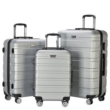 3 Piece Set Lightweight Carry on Luggage Travel ABS Trolley Bags Suitcase Cases