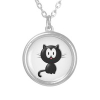 Black Cat on white background Round Pendant Necklace