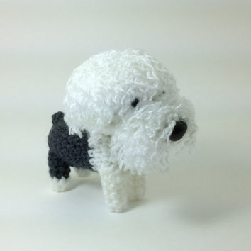 SALE / Old English Sheepdog Amigurumi Dog Stuffed Animal Crochet Dog Dog Doll / Made to Order