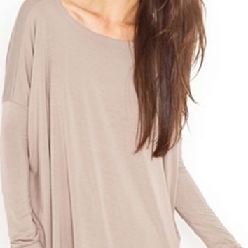 Latte Beige Sexy Taupe Piko Bamboo Oversized Loose Long Sleeve Top Boxy Boat Neck