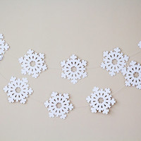 Paper garland, snowflake garland, wedding garland, holidays decor, christmas garland, holidays garland, christmas decor for home white
