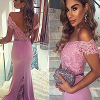Custom Made Off Shoulder Mermaid Lace Prom Dresses, Mermaid Lace Formal Dresses, Off Shoulder Bridesmaid Dresses