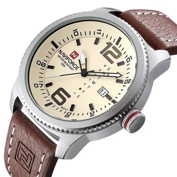 Men's Quartz Analog Military Watch with Leather Band