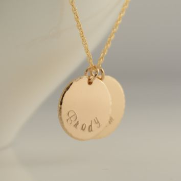 Kids name necklace. Gold filled disc necklace. Gold name disc necklace