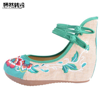 Vintage Embroidered Women Pumps 5CM Heel Women's National Retro Old Peking Mary Jane Canvas Soft Shoes Cloth Ballerinas Pumps