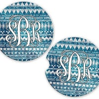 Blue Aztec Tribal Car Cup Coaster Glitter Look, Personalized Monogrammed Cup Holder, Custom Auto Gift, Sandstone Coaster, gift for her