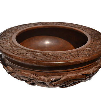 Handmade Wooden Serving Bowl - Fruit Bowl - Walnut Wood Salad Bowl - Hand carved Bowl - Intricate Base and Border Fruit Bowl - Housewarming