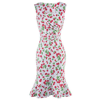 'Le-Ann' Cherry print slim style dress