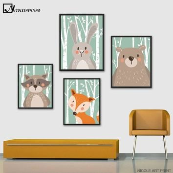 Cartoon Animal Rabbit Bear Fox Minimalist Art Canvas Poster Painting Nursery Picture Print Modern Home Children Room Decor C202
