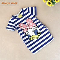 Malayu Baby 2016 latest summer girls striped dress children cartoon Donald Duck, the two sides in my pocket dress 2-7 years A122