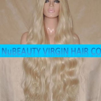 "CUSTOM COLORED Human Hair Wig Full Lace 30"" Very Long Curly Body Wave Light Blonde #60"