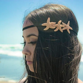 Triple Starfish Headband - Sugar Starfish Hippie Headwrap - Beach Boho - Cute Adorable - Romantic - Whimsical - Dreamy Sea Stars - Mermaid