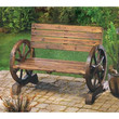 Wagon Wheel Garden Bench