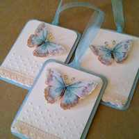 Glittery and Dimensional Butterfly Tags - Set of THREE - Blue and Cream - Sparkly Butterfly - Wishing Tags - Gift Tags - Embossed Tag