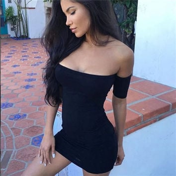 Fashion Female Solid Color Pack Skirt Off Shoulder Long Sleeve Tight Mini Dress