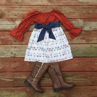 Girls Fall Thanksgiving Dress and Sash Pumpkin Orange Navy Gold Arrows 3 6 12 18 24 2t 3t 4t 5 6 7 8 9 10 Fall Autumn Dress