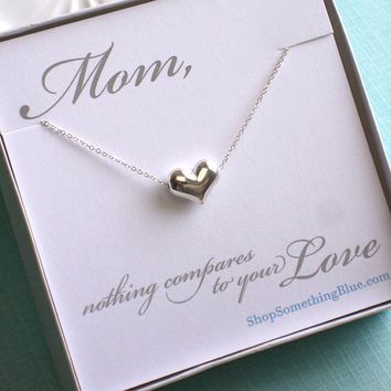 Heart Necklace in Sterling Silver, Mother's Day Gift, Love Necklace, Floating Heart, Heart Jewelry, Heart Pendant, Sentiment Card