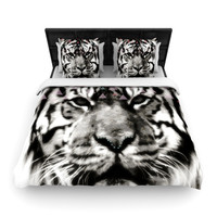 "Suzanne Carter ""Tiger Face"" Gray Animal Woven Duvet Cover"