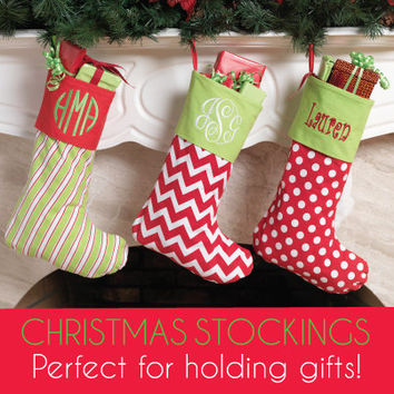 SALE Order Early Christmas Personalized Christmas Stocking Zig Zag  Polka Dot Stripe Burlap Chevron Family Stocking Matching Tree Skirts
