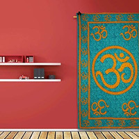 DharmaObjects Decorative Om Print Blue Tapestry Wall Décor Wall Hanging Twin Size Table Runner