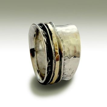 Sterling silver unisex band with silver and gold by artisanlook