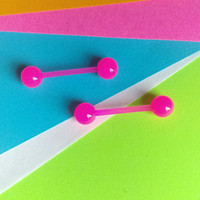 14g Pink Flexible Barbell Tongue Piercing Nipple Ear Piercing