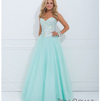 (PRE-ORDER) Tony Bowls 2014 Prom Dresses - Mint Jeweled Strapless Sweetheart Tulle Gown