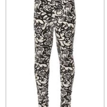 Girls Leggings Scrolls Vines Black/White:  S/L