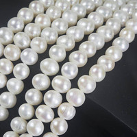 white freshwater pearl beads  - pearl beads wholesale - pearls and beads wholesale - pearl strands - potato pearl beads 11-10mm -15 inch