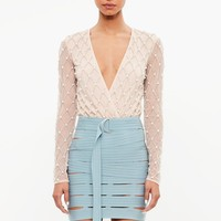 Missguided - Peace + Love Blue Bandage Cut Out Mini Skirt