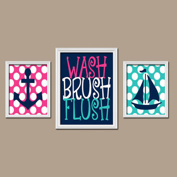 Anchor Boat Bathroom Decor Child Bathroom Rules Wall Art CANVAS Brother Sister Bathroom Nautical Wall Art Nautical Bathroom Decor Set of 3